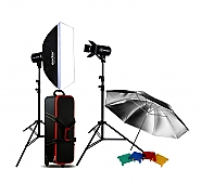 Kit Godox 2 studioflitsen 300ws E-300 + accesoires