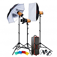 Kit Godox 3 studioflitsen 250ws + accesories + koffer