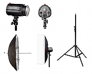 Godox Mini Pioneer 160 watt Softbox Paraplu Duo Kit