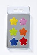 6 Magnets, flower, 6 colours ass.