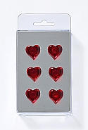 6 Magnets, hearts, dark red
