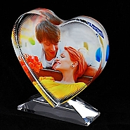 Photo Crystal Heart with stand