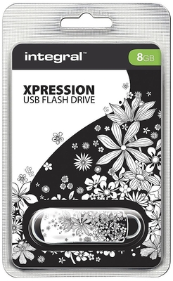 Integral 8GB Xpression USB Flash Drive Flowers